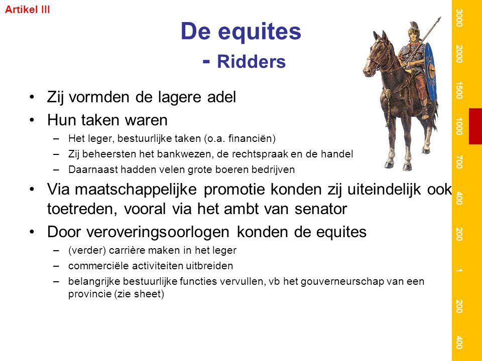 De equites - Ridders Zij vormden de lagere adel Hun taken waren –Het leger, bestuurlijke taken (o.a. financiën) –Zij beheersten het bankwezen, de rech