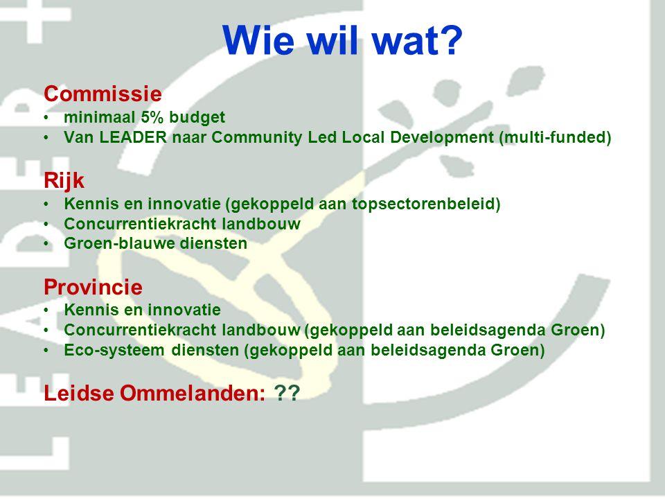 Wie wil wat? Commissie minimaal 5% budget Van LEADER naar Community Led Local Development (multi-funded) Rijk Kennis en innovatie (gekoppeld aan topse