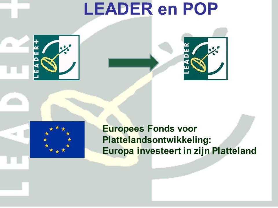 POP2 (2007 – 2013) Vier assen As 1: concurrentiekracht landbouw As 2: milieu, natuur en landschap As 3: plattelandseconomie As 4: Leader As 1 en 2 vnl.