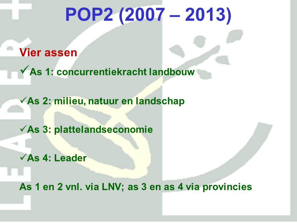 POP2 (2007 – 2013) Vier assen As 1: concurrentiekracht landbouw As 2: milieu, natuur en landschap As 3: plattelandseconomie As 4: Leader As 1 en 2 vnl.
