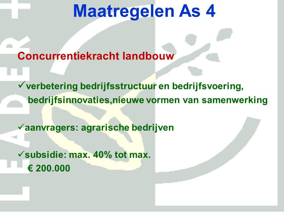Maatregelen As 4 Milieu, natuur en landschap aanvullend op as-2 maatregelen; groene en blauwe diensten, innovatieve oplossingen aanvragers: iedereen subsidie: overheden max.