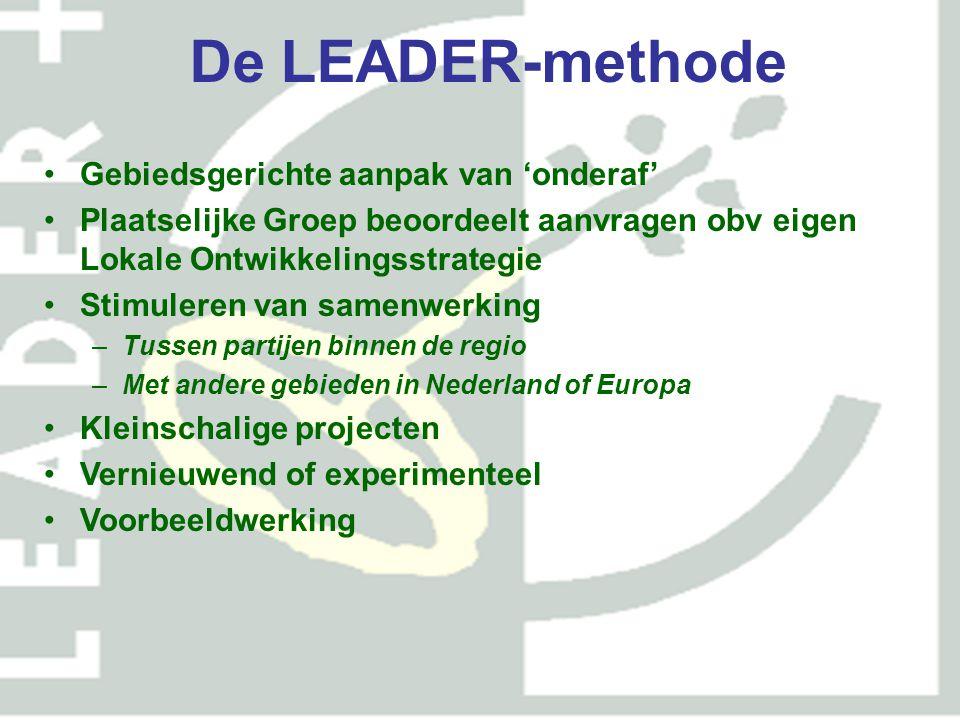 Budget POP2 Landelijk Totale budget € 487 miljoen landelijk; As 1, 2 en 3 ieder 30% As 4, Leader 10% van budget: € 48 voor 31 LEADER-gebieden Tegenover elke € EU subsidie ook € bijdrage nationale overheden (Rijk, provincie, gemeenten, Waterschappen)
