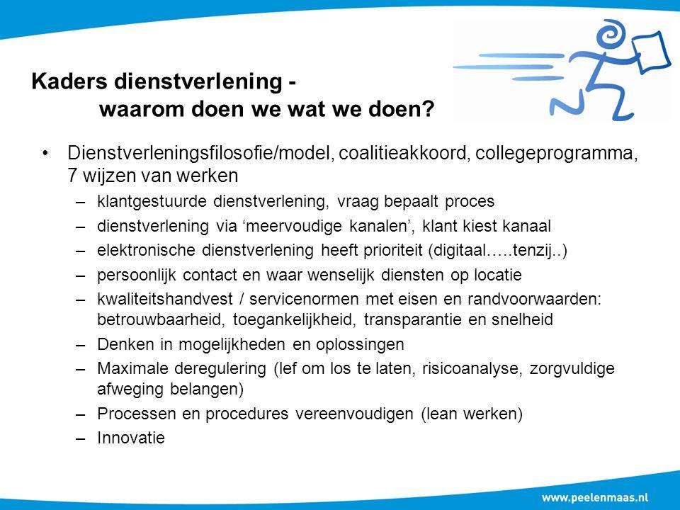 Kaders dienstverlening - waarom doen we wat we doen? Dienstverleningsfilosofie/model, coalitieakkoord, collegeprogramma, 7 wijzen van werken –klantges