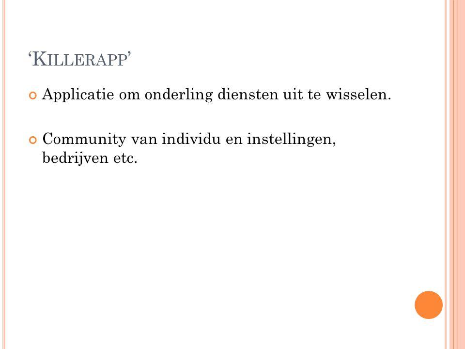 'K ILLERAPP ' Applicatie om onderling diensten uit te wisselen. Community van individu en instellingen, bedrijven etc.
