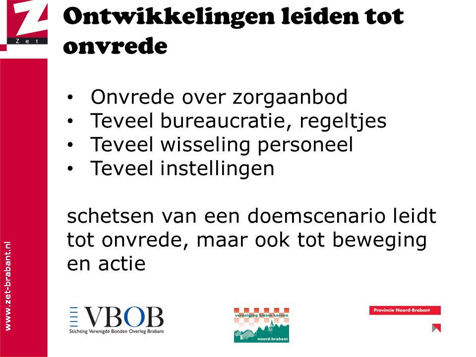 www.zet-brabant.nl Ontwikkelingen leiden tot onvrede Onvrede over zorgaanbod Teveel bureaucratie, regeltjes Teveel wisseling personeel Teveel instellingen schetsen van een doemscenario leidt tot onvrede, maar ook tot beweging en actie