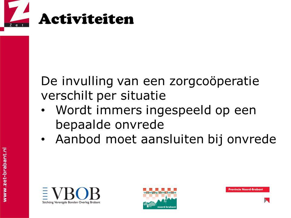 www.zet-brabant.nl Activiteiten De invulling van een zorgcoöperatie verschilt per situatie Wordt immers ingespeeld op een bepaalde onvrede Aanbod moet