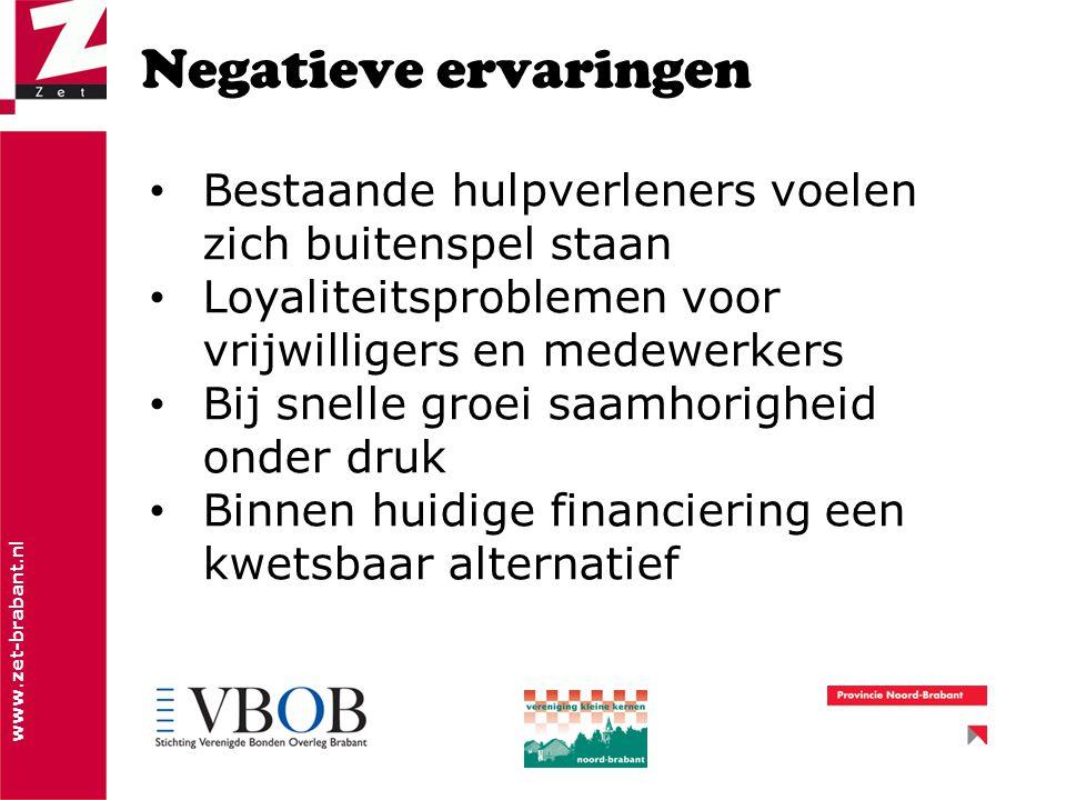 www.zet-brabant.nl Negatieve ervaringen Bestaande hulpverleners voelen zich buitenspel staan Loyaliteitsproblemen voor vrijwilligers en medewerkers Bij snelle groei saamhorigheid onder druk Binnen huidige financiering een kwetsbaar alternatief