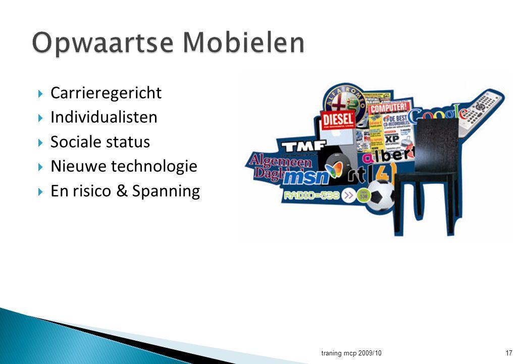  Carrieregericht  Individualisten  Sociale status  Nieuwe technologie  En risico & Spanning traning mcp 2009/1017