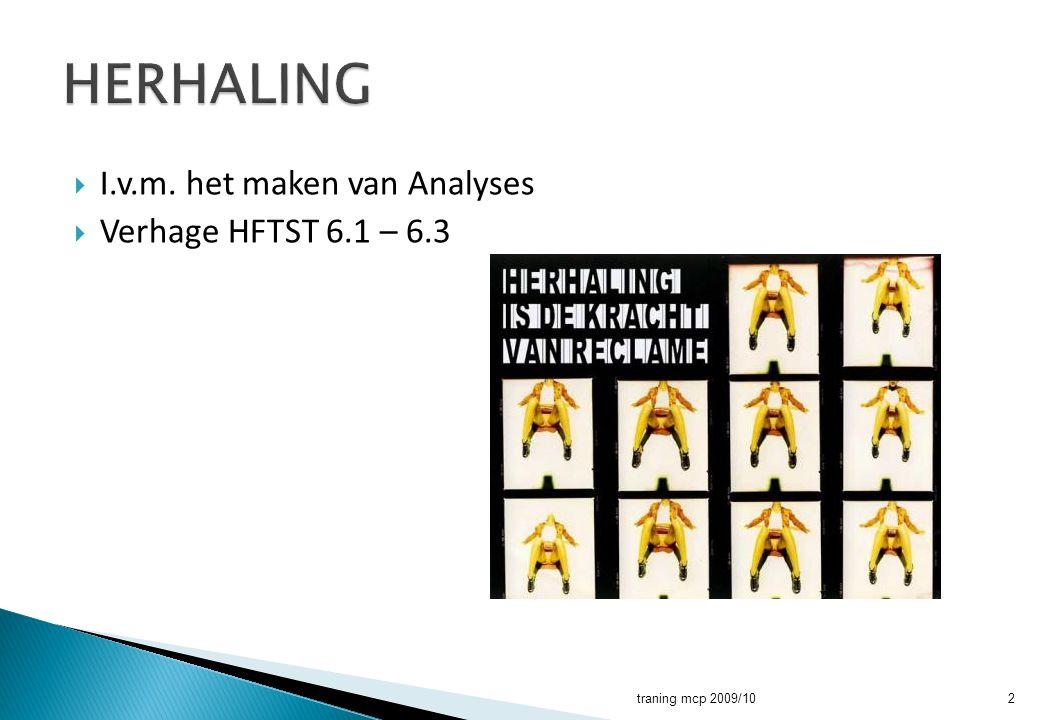  I.v.m. het maken van Analyses  Verhage HFTST 6.1 – 6.3 traning mcp 2009/102