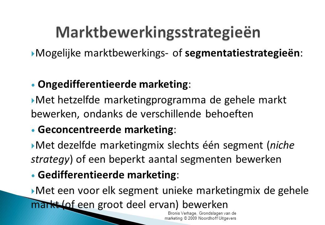 Bronis Verhage, Grondslagen van de marketing © 2009 Noordhoff Uitgevers Marktbewerkingsstrategieën  Mogelijke marktbewerkings- of segmentatiestrategi