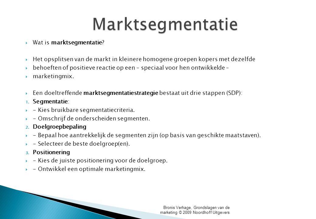 Marktsegmentatie  Wat is marktsegmentatie?  Het opsplitsen van de markt in kleinere homogene groepen kopers met dezelfde  behoeften of positieve re