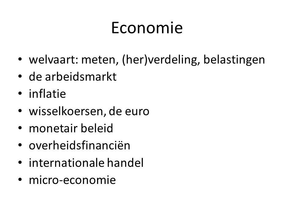 Economie welvaart: meten, (her)verdeling, belastingen de arbeidsmarkt inflatie wisselkoersen, de euro monetair beleid overheidsfinanciën international