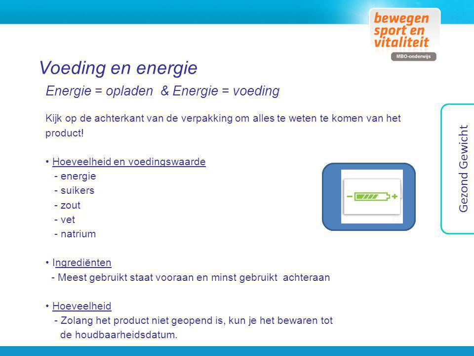 Voeding en energie Energie = opladen & Energie = voeding Kijk op de achterkant van de verpakking om alles te weten te komen van het product! Hoeveelhe