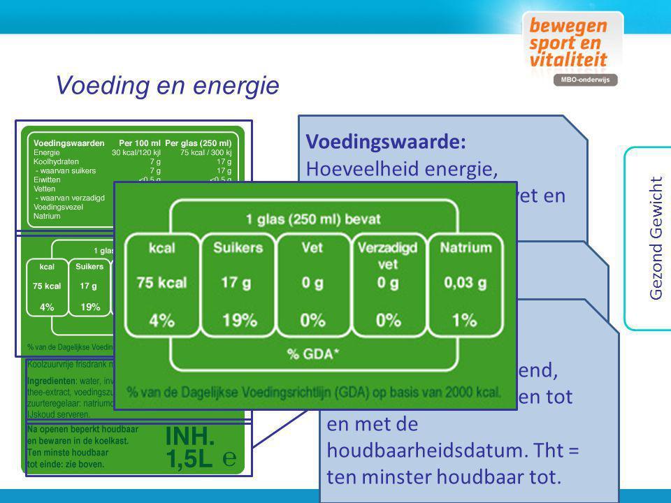 Voeding en energie Gezond Gewicht Voedingswaarde: Hoeveelheid energie, suikers, vet, verzadigd vet en natrium. Hoeveelheid: Hoeveel energie en in verh