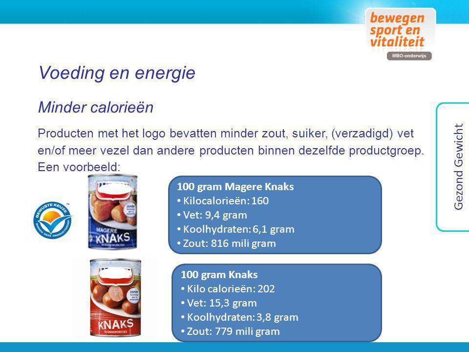Voeding en energie Minder calorieën Producten met het logo bevatten minder zout, suiker, (verzadigd) vet en/of meer vezel dan andere producten binnen