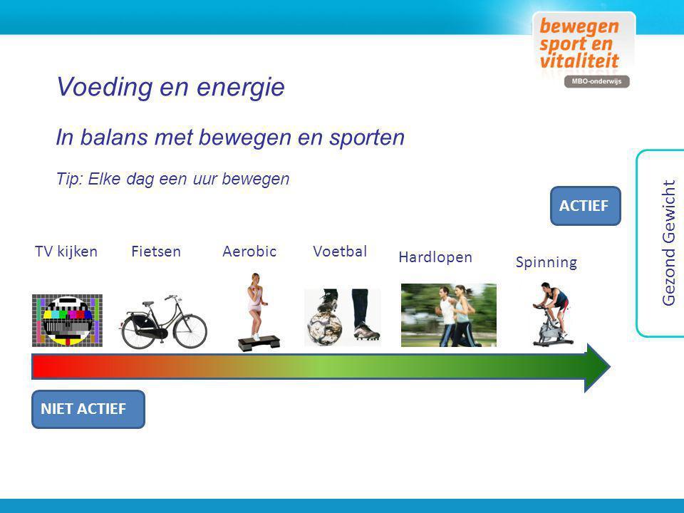 Voeding en energie In balans met bewegen en sporten Tip: Elke dag een uur bewegen NIET ACTIEF ACTIEF TV kijkenFietsenAerobicVoetbal Hardlopen Spinning