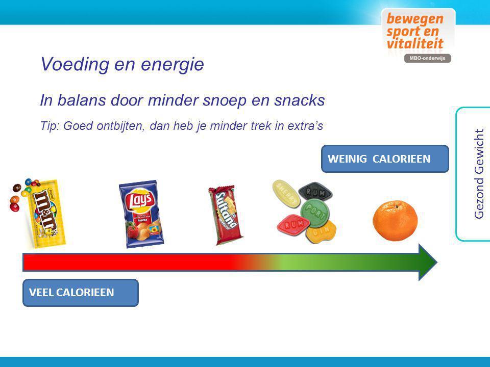Voeding en energie In balans door minder snoep en snacks Tip: Goed ontbijten, dan heb je minder trek in extra's VEEL CALORIEEN WEINIG CALORIEEN Gezond
