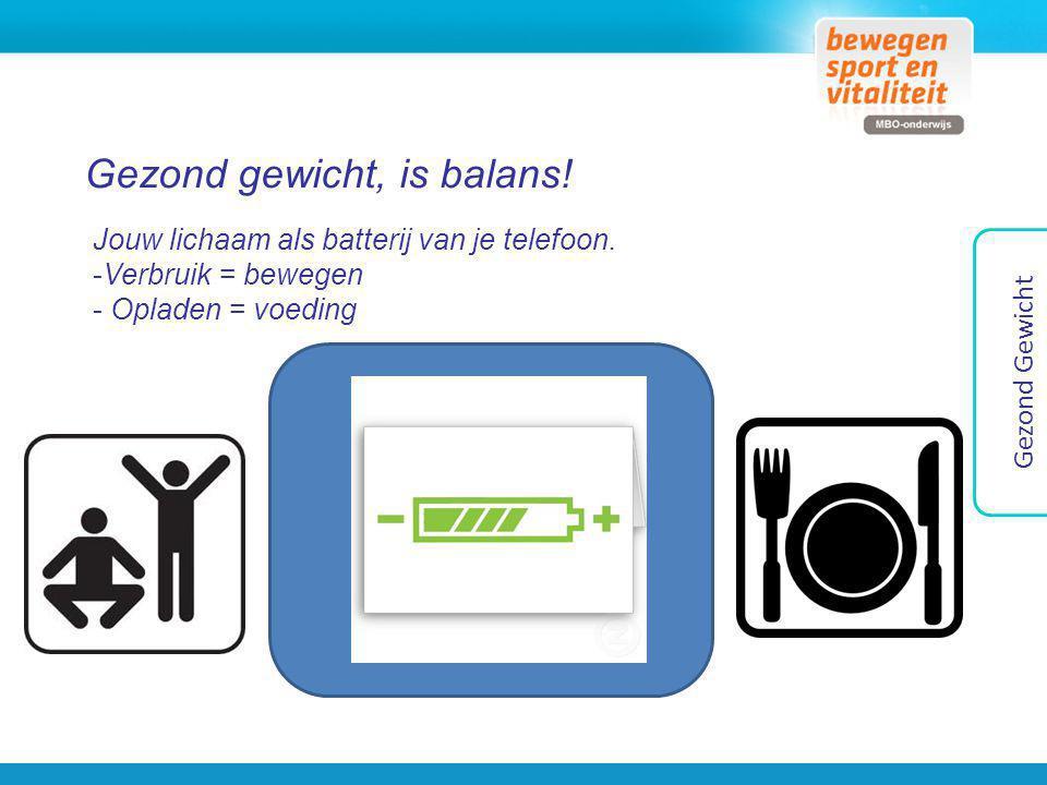 Gezond gewicht, is balans! Jouw lichaam als batterij van je telefoon. -Verbruik = bewegen - Opladen = voeding Gezond Gewicht