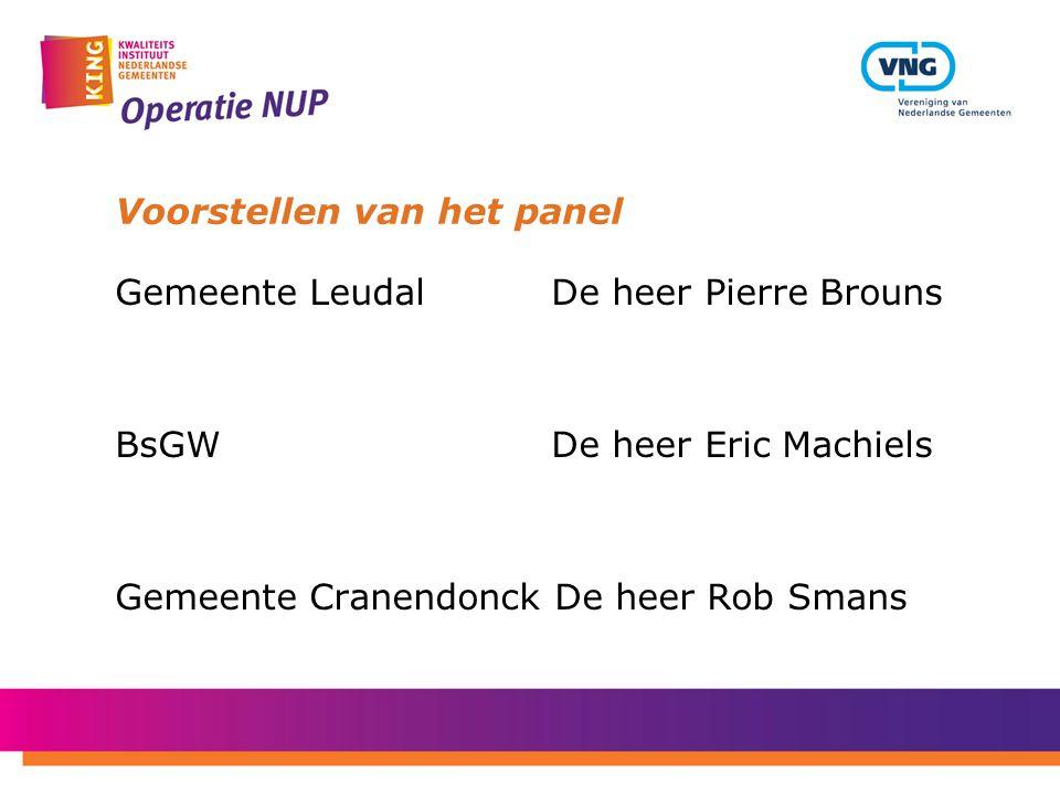 Voorstellen van het panel Gemeente Leudal De heer Pierre Brouns BsGW De heer Eric Machiels Gemeente Cranendonck De heer Rob Smans