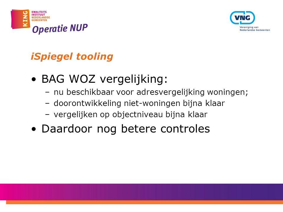 iSpiegel tooling BAG WOZ vergelijking: –nu beschikbaar voor adresvergelijking woningen; –doorontwikkeling niet-woningen bijna klaar –vergelijken op ob