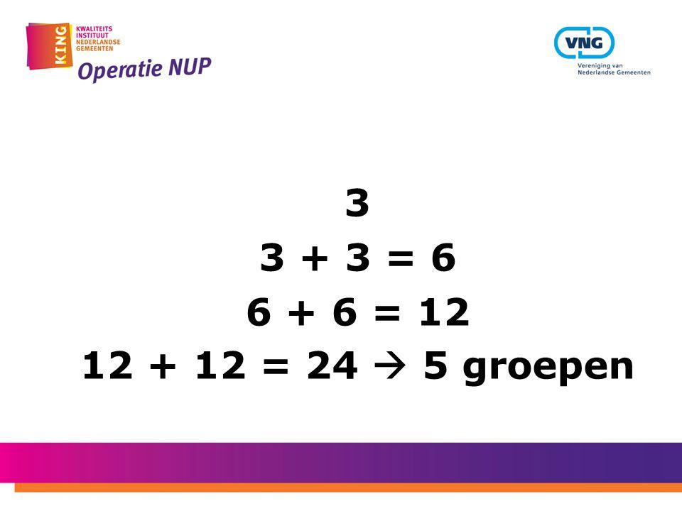 3 3 + 3 = 6 6 + 6 = 12 12 + 12 = 24  5 groepen
