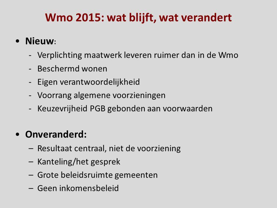 Wmo 2015: wat blijft, wat verandert Nieuw : -Verplichting maatwerk leveren ruimer dan in de Wmo -Beschermd wonen -Eigen verantwoordelijkheid -Voorrang
