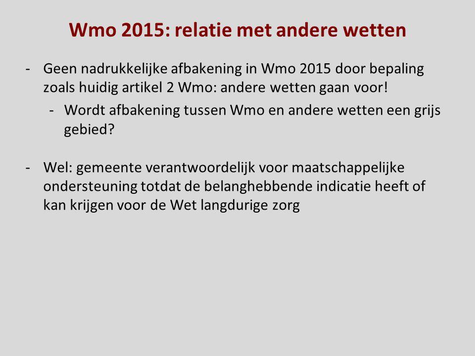 Wmo 2015: relatie met andere wetten -Geen nadrukkelijke afbakening in Wmo 2015 door bepaling zoals huidig artikel 2 Wmo: andere wetten gaan voor! -Wor