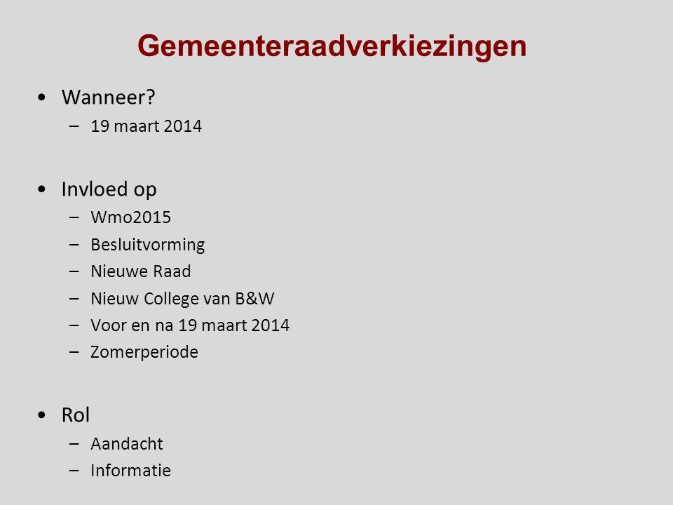 Gemeenteraadverkiezingen Wanneer? –19 maart 2014 Invloed op –Wmo2015 –Besluitvorming –Nieuwe Raad –Nieuw College van B&W –Voor en na 19 maart 2014 –Zo