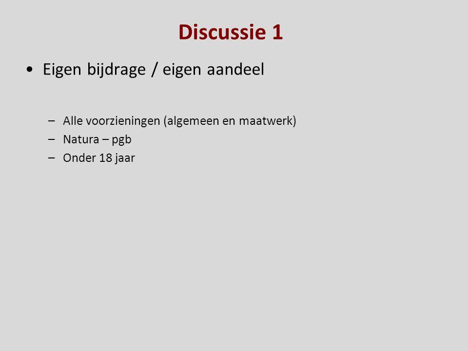 Discussie 1 Eigen bijdrage / eigen aandeel –Alle voorzieningen (algemeen en maatwerk) –Natura – pgb –Onder 18 jaar