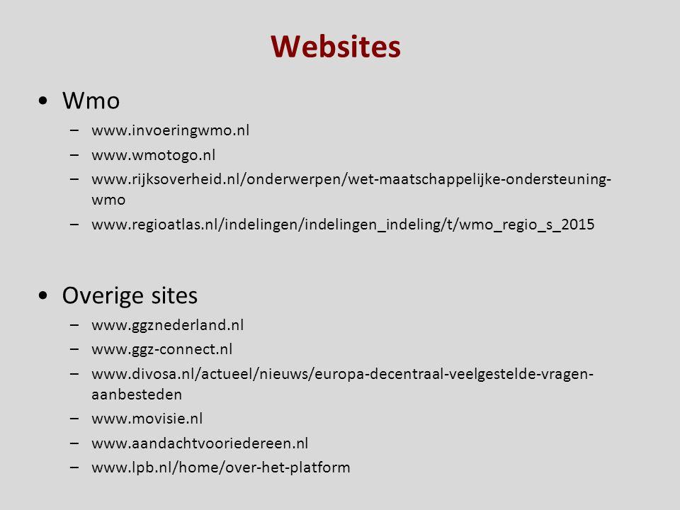 Websites Wmo –www.invoeringwmo.nl –www.wmotogo.nl –www.rijksoverheid.nl/onderwerpen/wet-maatschappelijke-ondersteuning- wmo –www.regioatlas.nl/indelin
