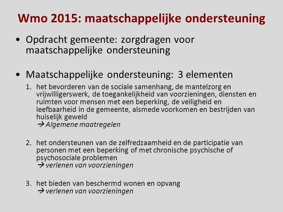 Wmo 2015: maatschappelijke ondersteuning Opdracht gemeente: zorgdragen voor maatschappelijke ondersteuning Maatschappelijke ondersteuning: 3 elementen