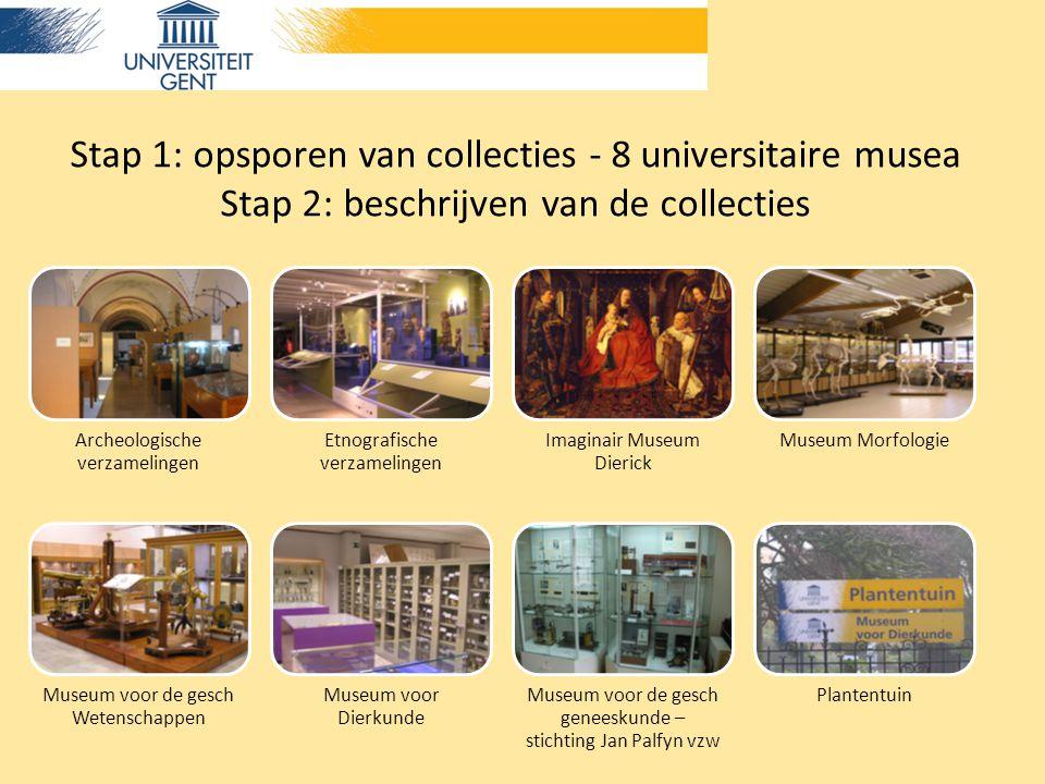 Stap 1: opsporen van collecties - 8 universitaire musea Stap 2: beschrijven van de collecties Archeologische verzamelingen Etnografische verzamelingen