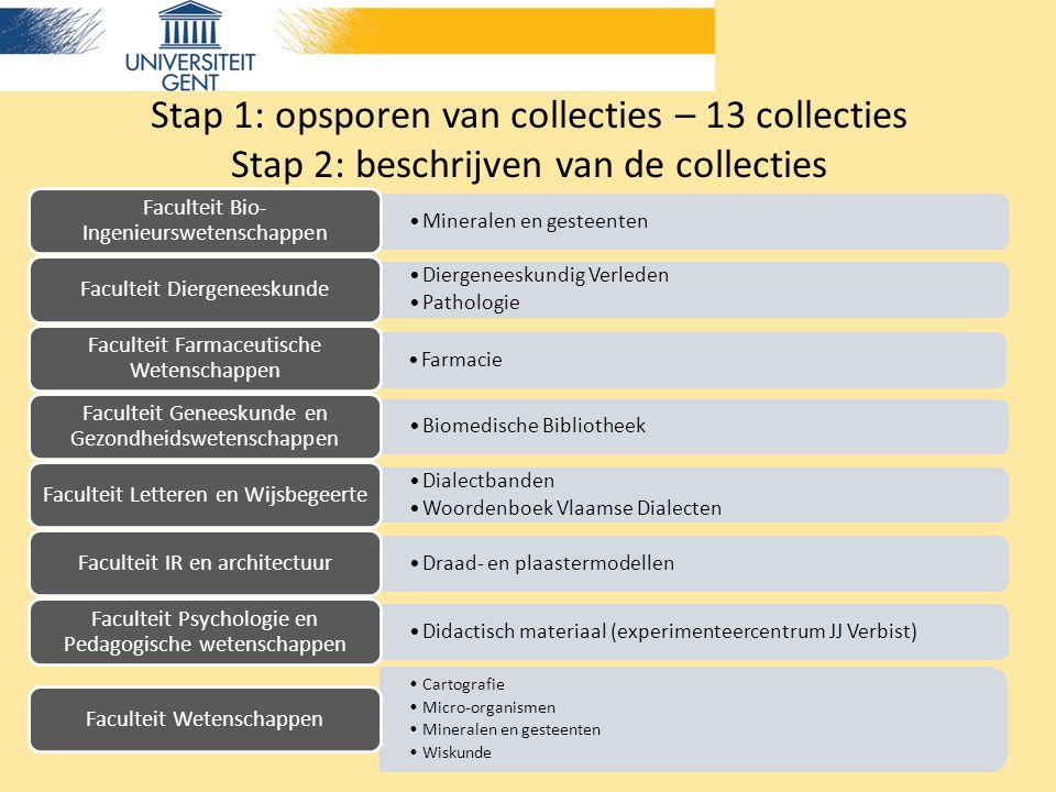 Stap 1: opsporen van collecties – 13 collecties Stap 2: beschrijven van de collecties Mineralen en gesteenten Faculteit Bio- Ingenieurswetenschappen D