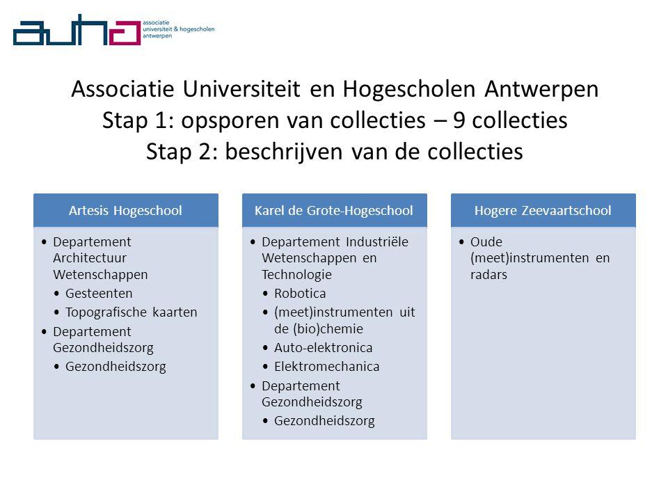Associatie Universiteit en Hogescholen Antwerpen Stap 1: opsporen van collecties – 9 collecties Stap 2: beschrijven van de collecties Artesis Hogescho