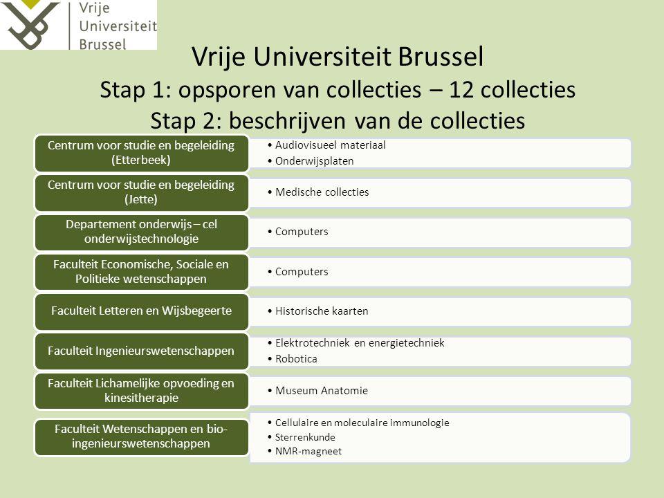 Vrije Universiteit Brussel Stap 1: opsporen van collecties – 12 collecties Stap 2: beschrijven van de collecties Audiovisueel materiaal Onderwijsplate