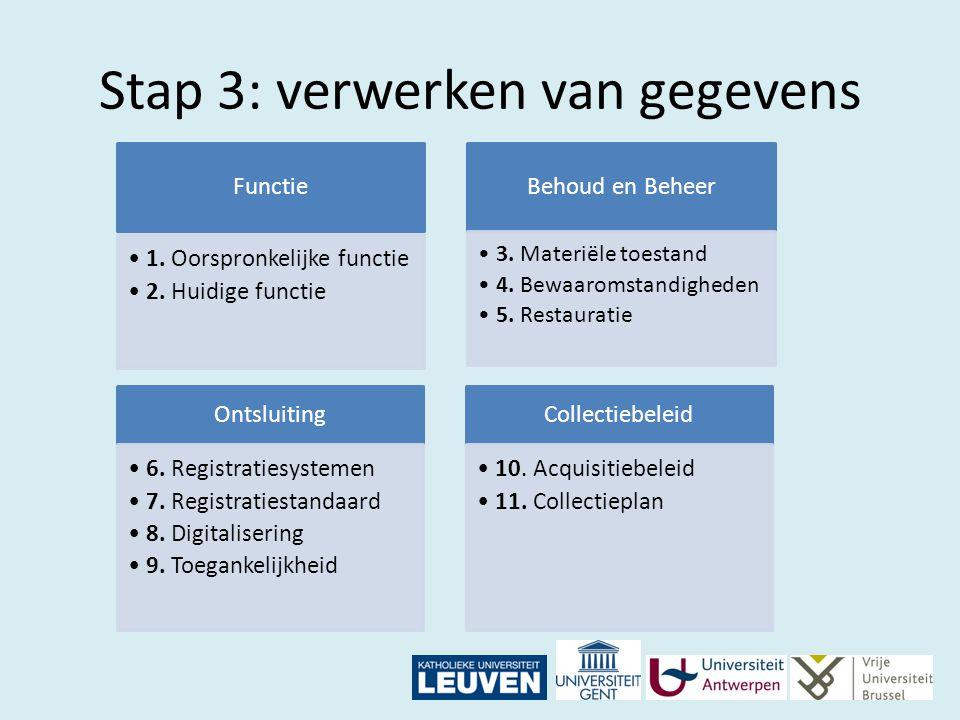 Stap 3: verwerken van gegevens Functie 1. Oorspronkelijke functie 2. Huidige functie Behoud en Beheer 3. Materiële toestand 4. Bewaaromstandigheden 5.