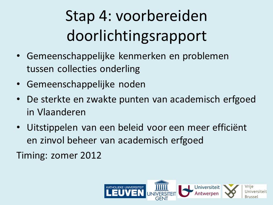 Stap 4: voorbereiden doorlichtingsrapport Gemeenschappelijke kenmerken en problemen tussen collecties onderling Gemeenschappelijke noden De sterkte en