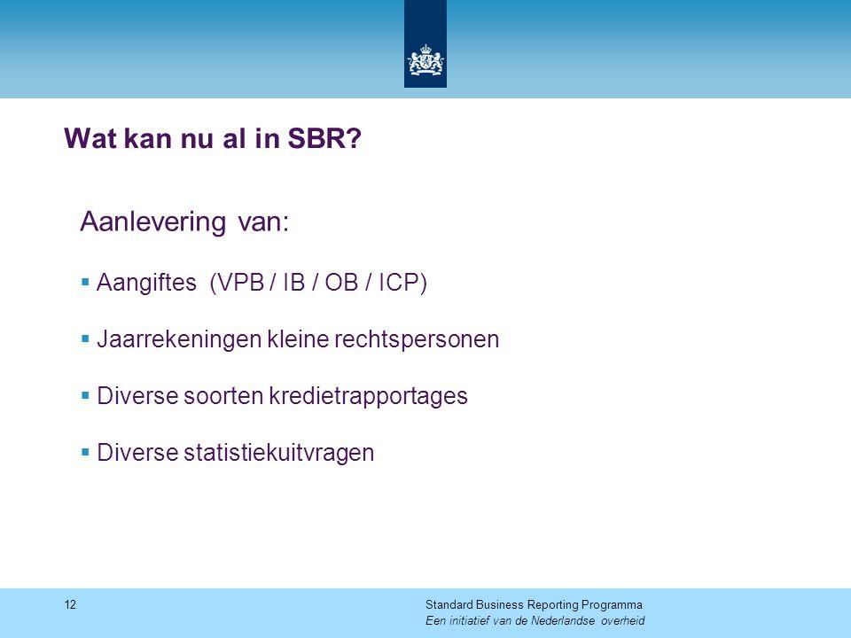 Wat kan nu al in SBR? Aanlevering van:  Aangiftes (VPB / IB / OB / ICP)  Jaarrekeningen kleine rechtspersonen  Diverse soorten kredietrapportages 