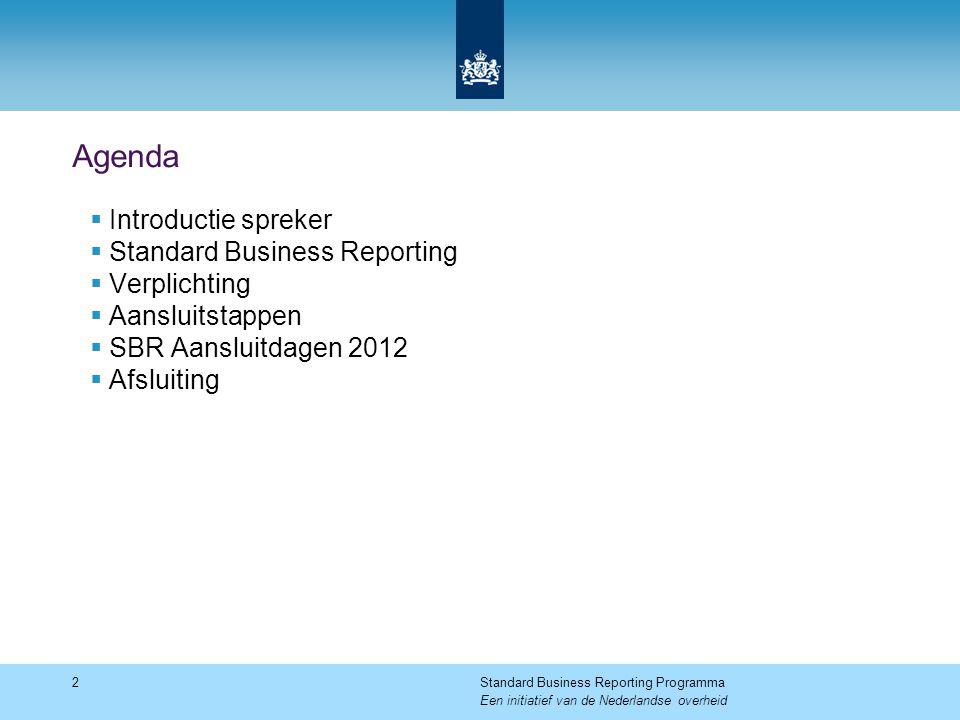 Agenda  Introductie spreker  Standard Business Reporting  Verplichting  Aansluitstappen  SBR Aansluitdagen 2012  Afsluiting 2Standard Business Reporting Programma Een initiatief van de Nederlandse overheid