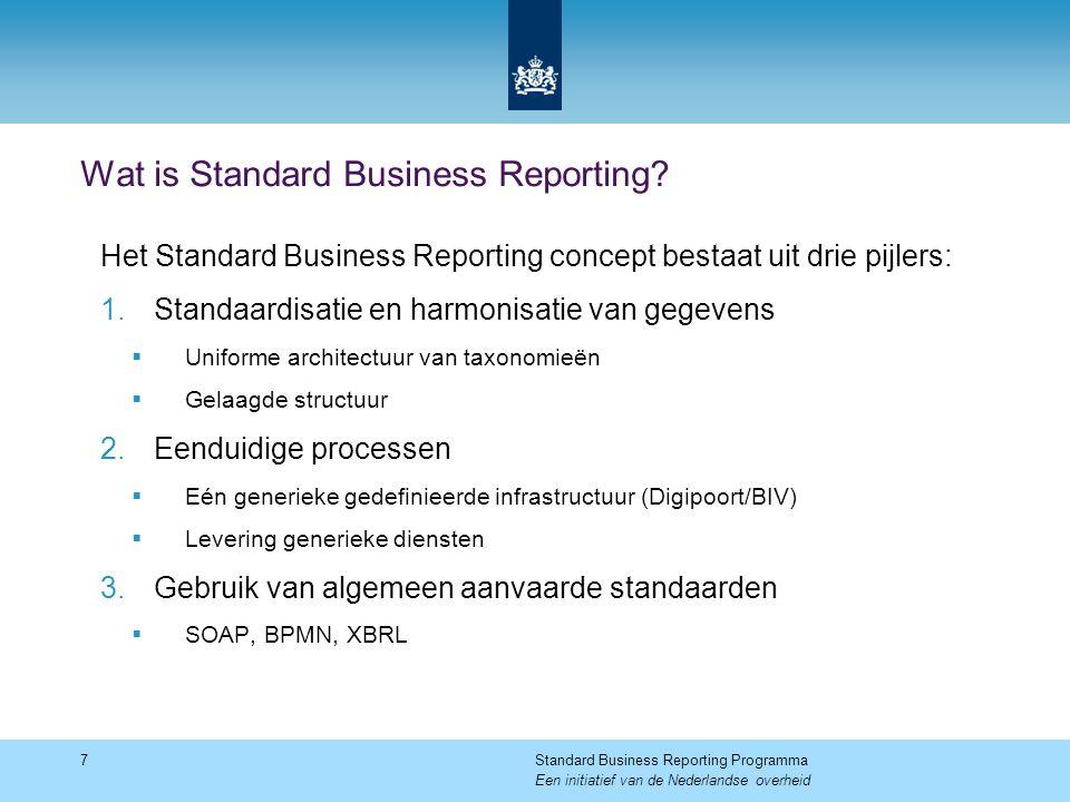 Wat is Standard Business Reporting? 7Standard Business Reporting Programma Een initiatief van de Nederlandse overheid Het Standard Business Reporting
