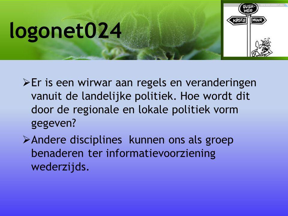 logonet024  Er is een wirwar aan regels en veranderingen vanuit de landelijke politiek.