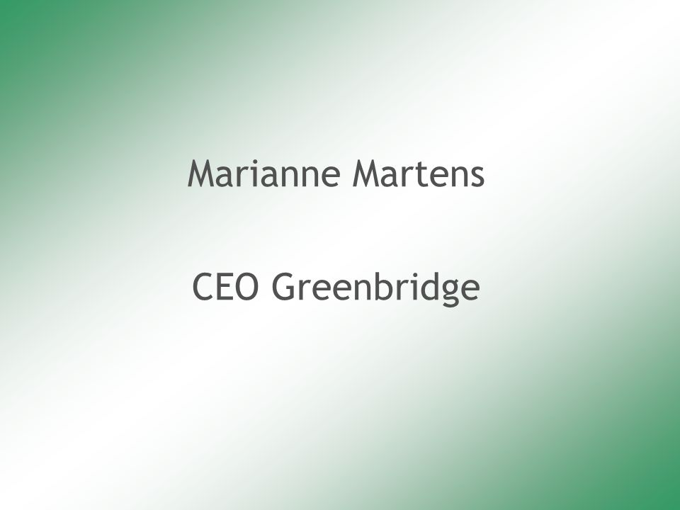Marianne Martens CEO Greenbridge