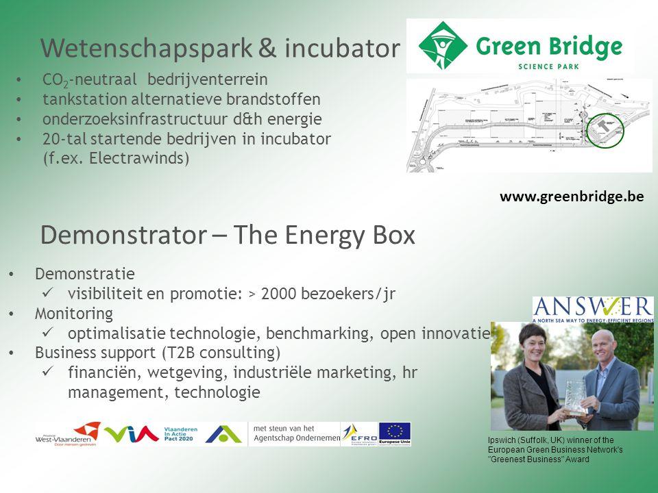 Wetenschapspark & incubator CO 2 -neutraal bedrijventerrein tankstation alternatieve brandstoffen onderzoeksinfrastructuur d&h energie 20-tal startende bedrijven in incubator (f.ex.