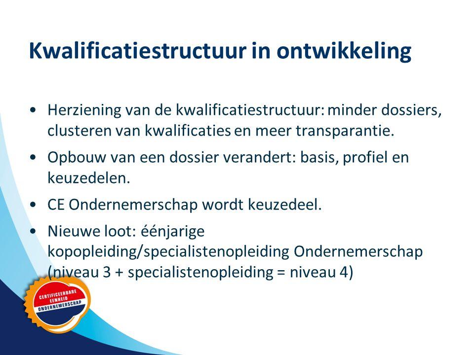 Kwalificatiestructuur in ontwikkeling Herziening van de kwalificatiestructuur: minder dossiers, clusteren van kwalificaties en meer transparantie.