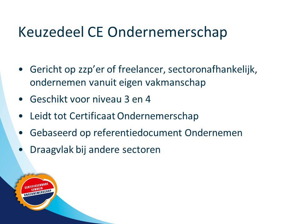 Keuzedeel CE Ondernemerschap Gericht op zzp'er of freelancer, sectoronafhankelijk, ondernemen vanuit eigen vakmanschap Geschikt voor niveau 3 en 4 Leidt tot Certificaat Ondernemerschap Gebaseerd op referentiedocument Ondernemen Draagvlak bij andere sectoren