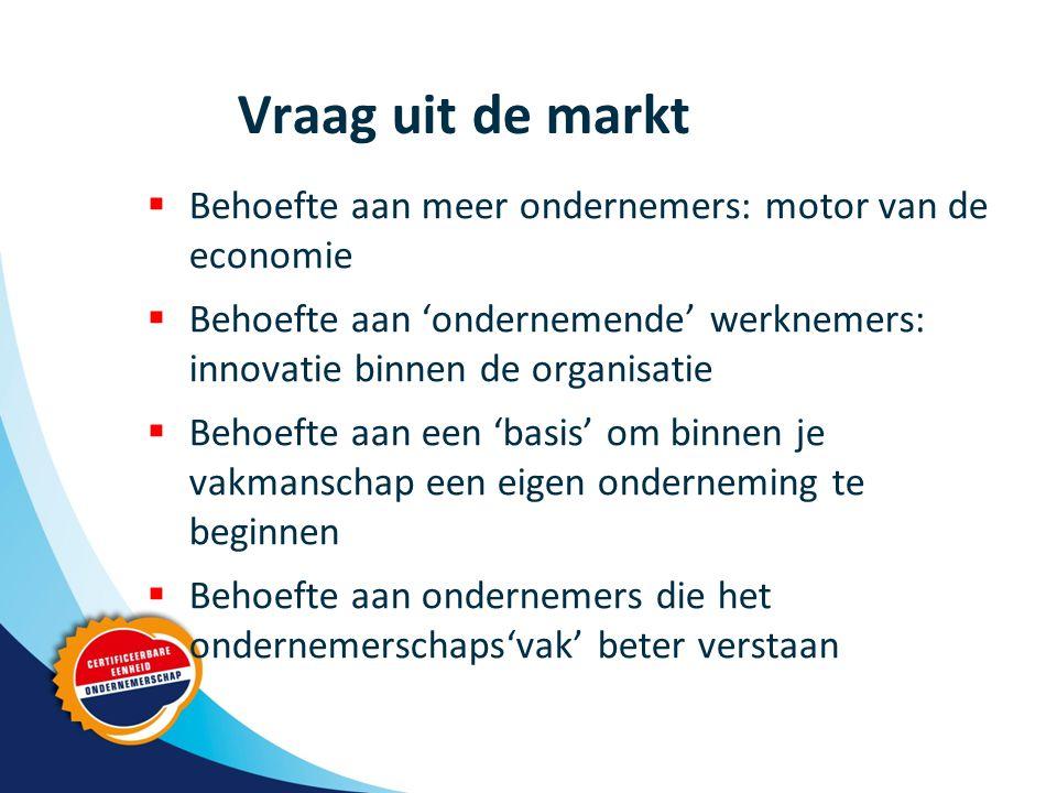 Vraag uit de markt  Behoefte aan meer ondernemers: motor van de economie  Behoefte aan 'ondernemende' werknemers: innovatie binnen de organisatie  Behoefte aan een 'basis' om binnen je vakmanschap een eigen onderneming te beginnen  Behoefte aan ondernemers die het ondernemerschaps'vak' beter verstaan