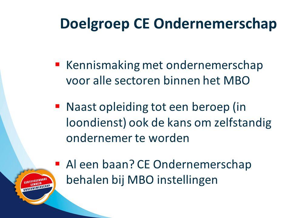 Doelgroep CE Ondernemerschap  Kennismaking met ondernemerschap voor alle sectoren binnen het MBO  Naast opleiding tot een beroep (in loondienst) ook de kans om zelfstandig ondernemer te worden  Al een baan.