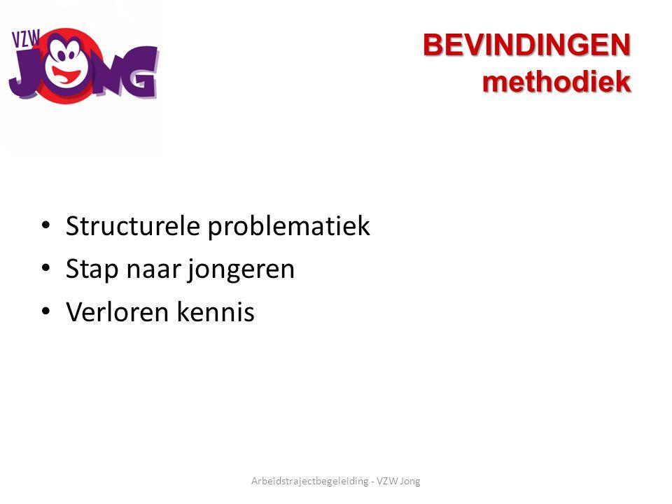 BEVINDINGEN methodiek Structurele problematiek Stap naar jongeren Verloren kennis Arbeidstrajectbegeleiding - VZW Jong