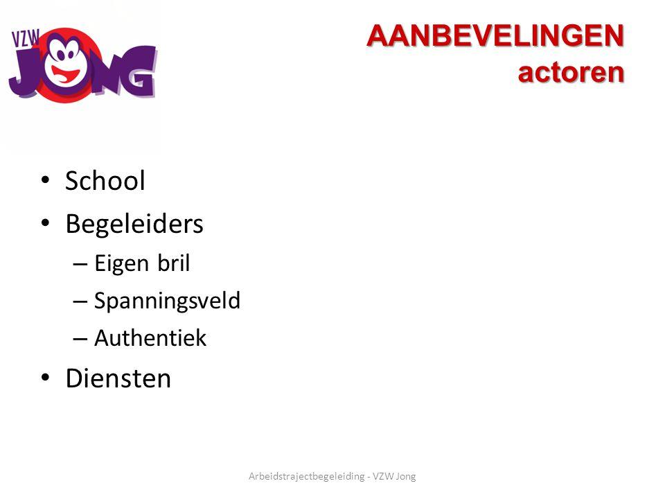 AANBEVELINGEN actoren School Begeleiders – Eigen bril – Spanningsveld – Authentiek Diensten Arbeidstrajectbegeleiding - VZW Jong