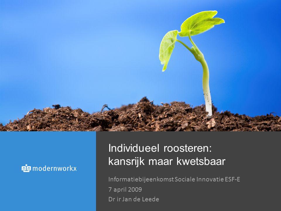 Individueel roosteren: kansrijk maar kwetsbaar Informatiebijeenkomst Sociale Innovatie ESF-E 7 april 2009 Dr ir Jan de Leede